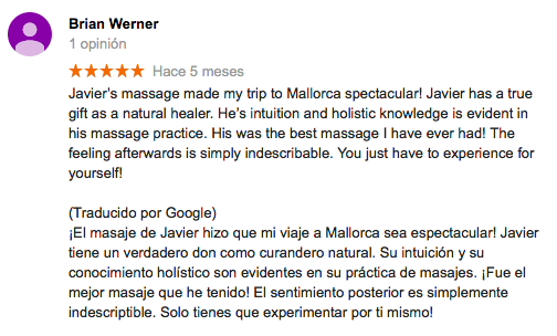 Feedback review massage mallorca